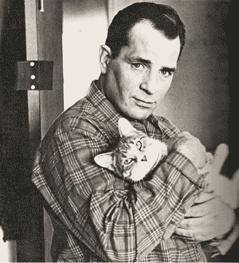 Jack Kerouac with a cat.