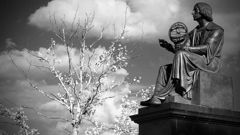 The statue of Nicolas Copernicus in Warsaw, Poland.