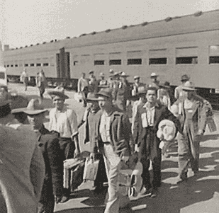 The first braceros arrive in Los Angeles by train in 1942.