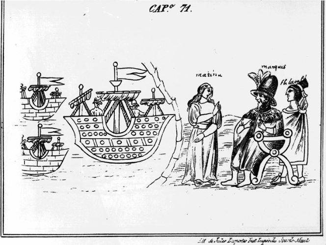 Codex Durán, Cortés disembarks in Mexico accompanied by Malintzin