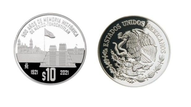 Commemorative coin for 500 years of Mexico Tenochtitlan's historical memory.