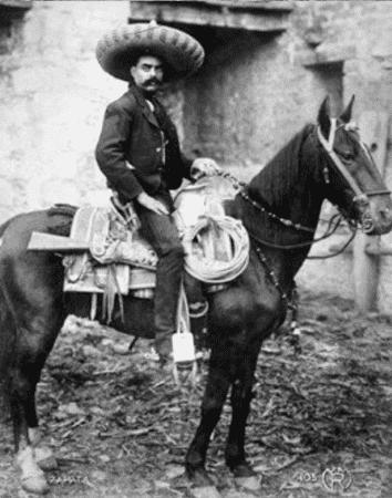 Emiliano Zapata on horseback.