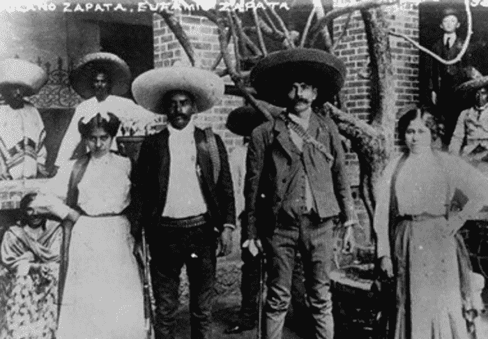 Brothers Emiliano and Eufemio Zapata with their wives.