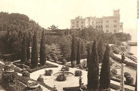 The castle of Miramar in 1880.