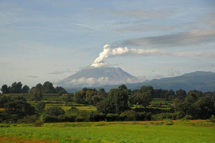 Volcano Popocatépetl seen from Puebla.