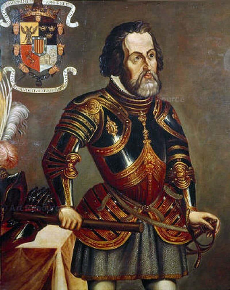 Hernán Cortés de Monroy y Pizarro Altamirano (1485-1547), (Copy) by Mateo Saldaña, 1917.