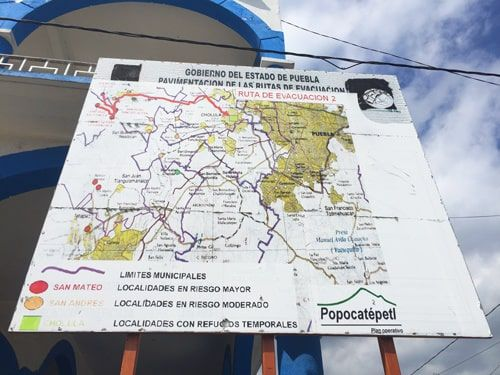 Popo map and evacuation routes.