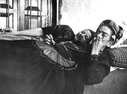 Frida Kahlo with Teresa Proenza, 1952.