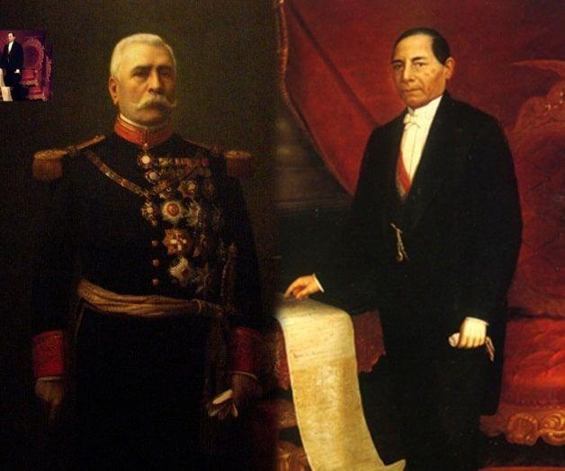 Porfirio Díaz Mori and Benito Juárez.